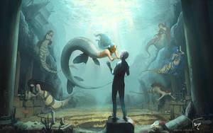 La jeune sirene et la statue by semsei