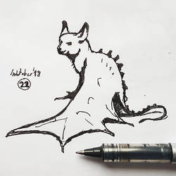 #22 Bat cat - Inktober2018 by Iggy-design