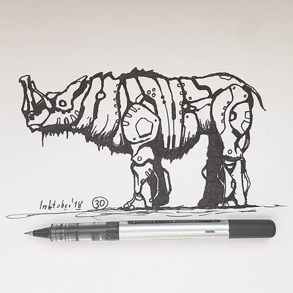 #30 Rhyno - Inktober2018 by Iggy-design