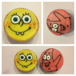 Spongebob and Patrick Cupcakes by Llama-Lloon