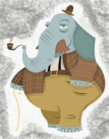 Mustache Elephant by 2DCale