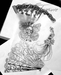 Tattoo sketches for right sleeve session 3 by DinkyPrincessa