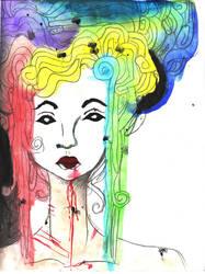 Rainbow Medusa by xbluaznraverx