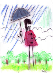 in the rain by xbluaznraverx