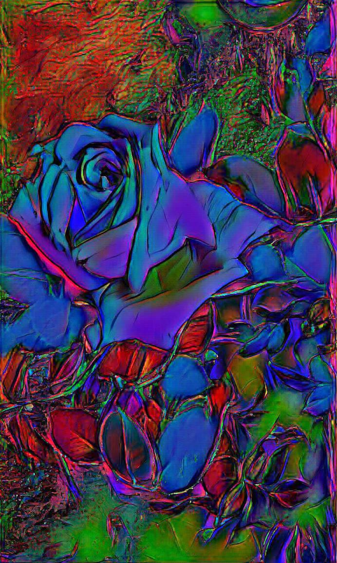 Prismatic Blue Rose by RobertLeesDigitalArt