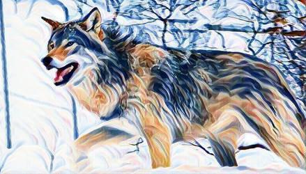 Wolf in the Snow 1 by RobertLeesDigitalArt
