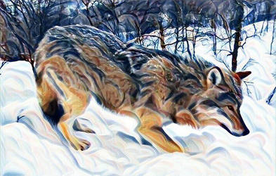 Wolf in the Snow 2 by RobertLeesDigitalArt