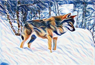 Wolf in the Snow 3 by RobertLeesDigitalArt
