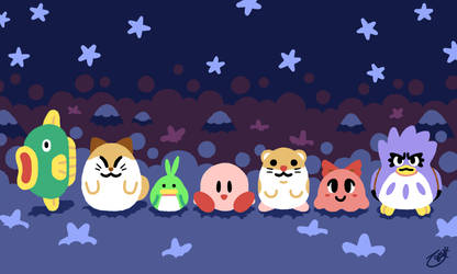 Kirby and Friends Mug Print by knitetgantt
