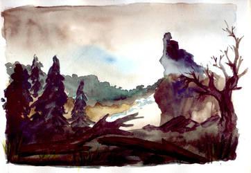 Ruins (watercolor) by Black-Jack-Davy