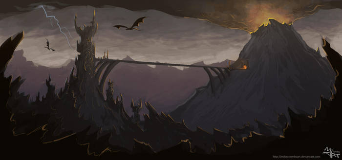 Barad-Dur and Orodruin by MikeCoombsArt