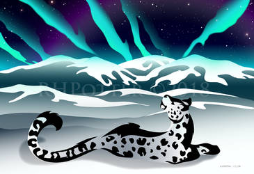 Snow Leopard Aurora by RHPotter