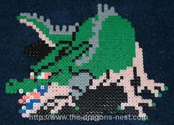 Perler Bead DW Green Dragon by pinkdramon