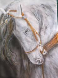 horse head on A2 card     b/w airbrush by hofku43