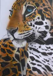 Leopard  profile  A1 card 90 x 64 cm by hofku43