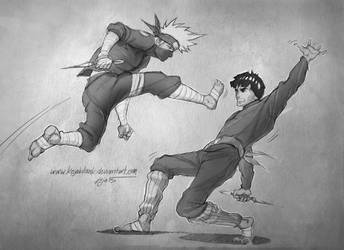 Kakashi VS Might 02 by KejaBlank