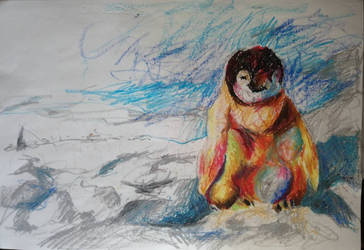 Penguin oil pastel  by marakiO