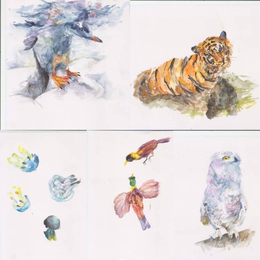 Watercolor animals by marakiO
