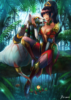 Nidalee and Cougar for commission by bibico-Atelier