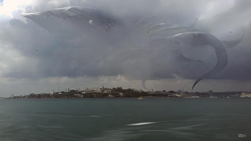 Flying Kraken over Istanbul by erenarik