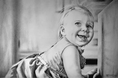 Baby Girl Portrait Drawing by golfiscool