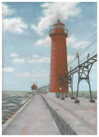 Grand Haven Lighthouse Pastel by golfiscool