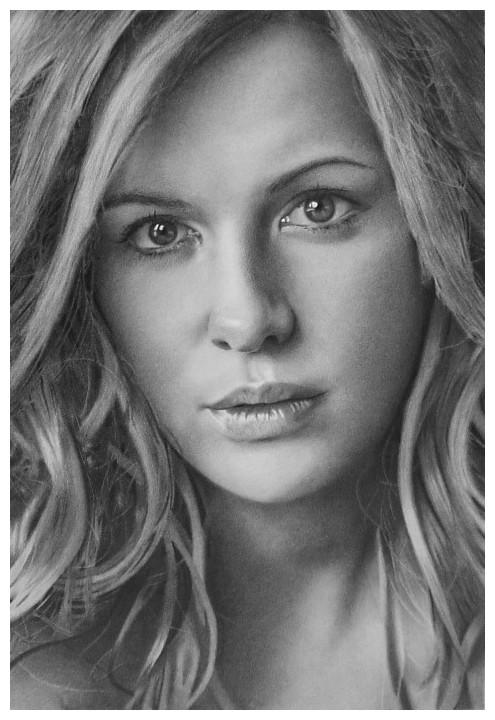 Kate Beckinsale Pencil Drawing by golfiscool