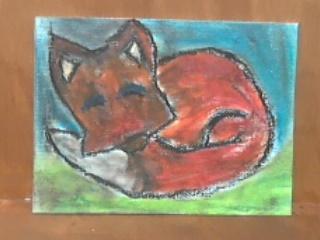Sleeping Fox oil pastels by hodgeunicorn