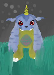 Gabumon (Two) with background by Bloxov