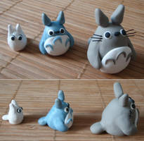 Set of Three Totoro Sculptures by Tegatana