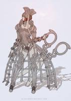 Queens Armor full-body sketch by eloel