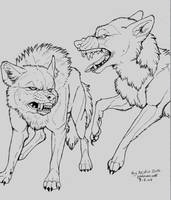 FREE Wolf Fight Line art by NatsumeWolf