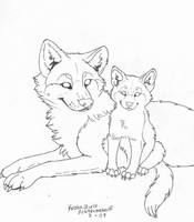 FREE (To color only) Wolf and Pup Line Art by NatsumeWolf