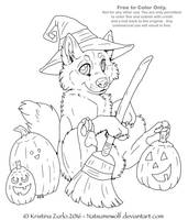 Free to Color Me - Halloween Pup LineArt by NatsumeWolf