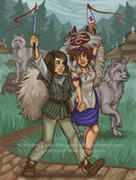 Arya and San Wolf Girls by NatsumeWolf