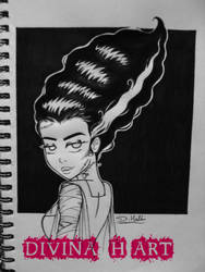 Inktober # 1 Bride of Frankenstein by Divina-H-ART