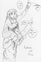 Young Katniss and Prim (request) by Kcie-Aiko