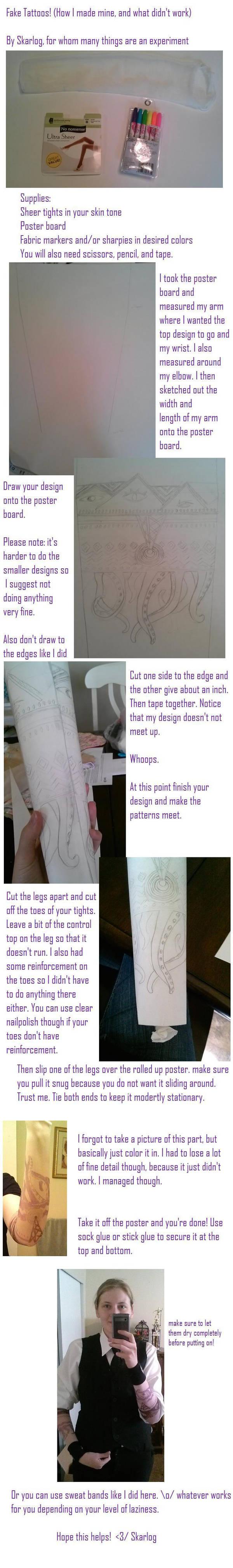 Fake tattoo sleeve tutorial by Skarlog