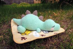 Sleeping Baby T-Rex Amigurumi by yimtea