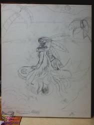 Ak'ta at the beach Sketch by SkyrimsAktahRyders