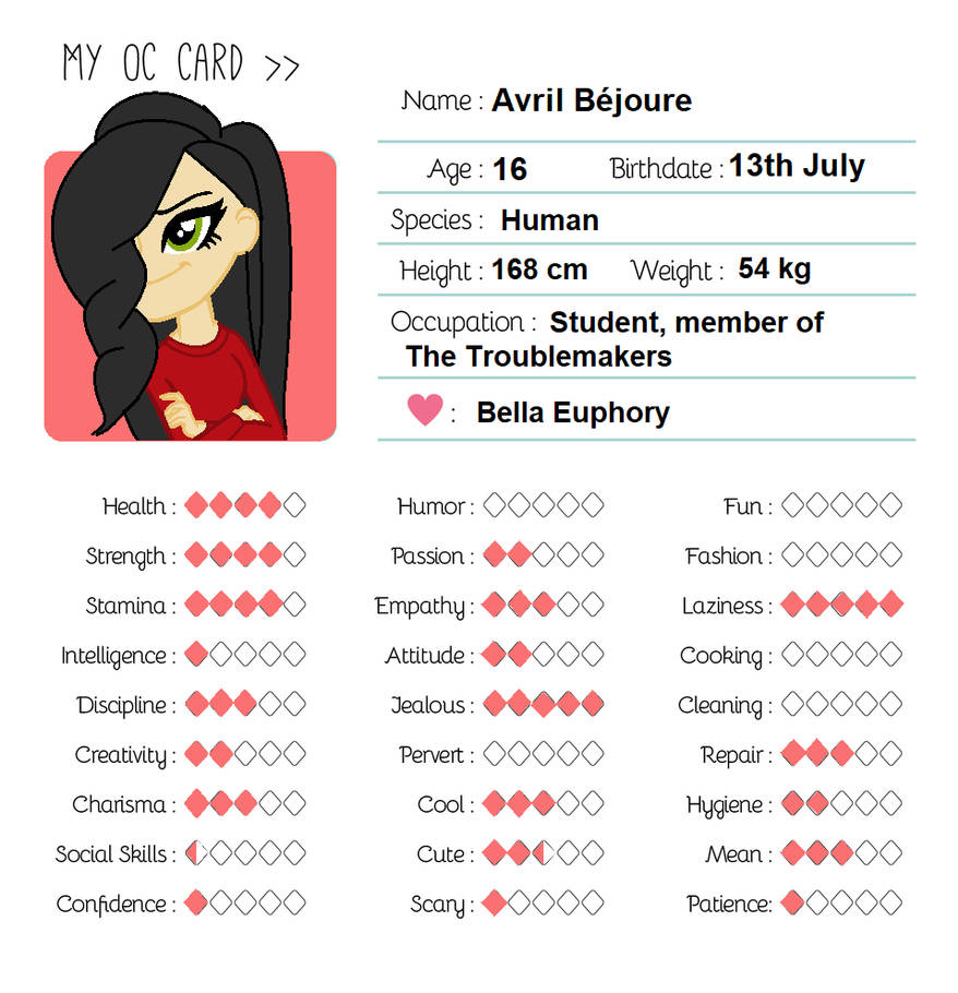 My OC card: Avril Bejoure by zahadyozivaji