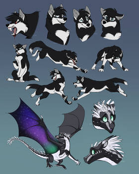 Vex and Wolf Sketch Page by Nightrizer