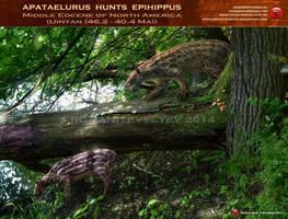 Apataelurus hunts Epihippus by RomanYevseyev