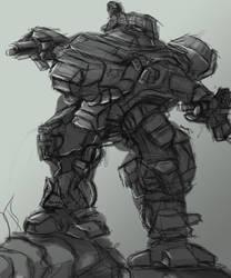 Mech Victory - HAWKEN-Inspired Sketch by BigTacoDragon