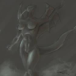 Dragoness sketch test by BigTacoDragon