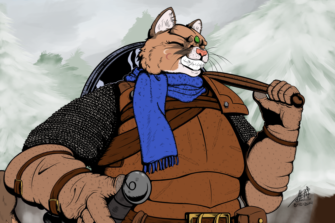 Big, Grinning, Winter Cougar Mercenary by NeonNoble