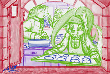 Sketch-A-Day #27: A Day at the Bakery by NeonNoble