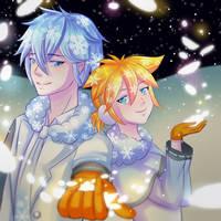 Kaito + Len Snowman by 39rin