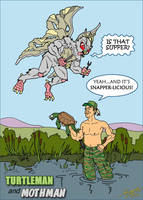 Turtle Man vs Moth Man Kentucky by sonicblaster59
