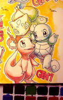 Generation 1 starters by Lumaga